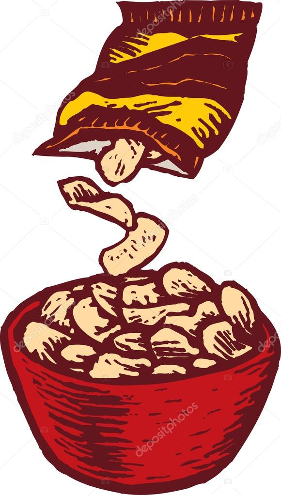 580x1022 Woodcut Illustration Of Bowl And Bag Of Potato Chips Stock