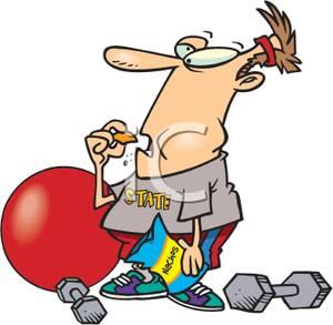 300x293 Art Image An Exercising Man Eating A Bag Of Potato Chips