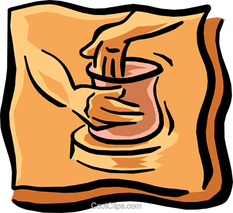 480x439 Making Pottery Royalty Free Vector Clip Art Illustration Hand0249