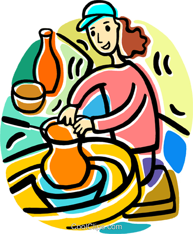 396x480 Woman Making Pottery Royalty Free Vector Clip Art Illustration