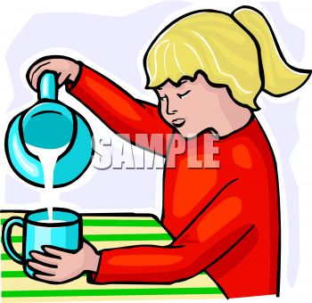 350x340 Girl Pouring Milk Into A Cup
