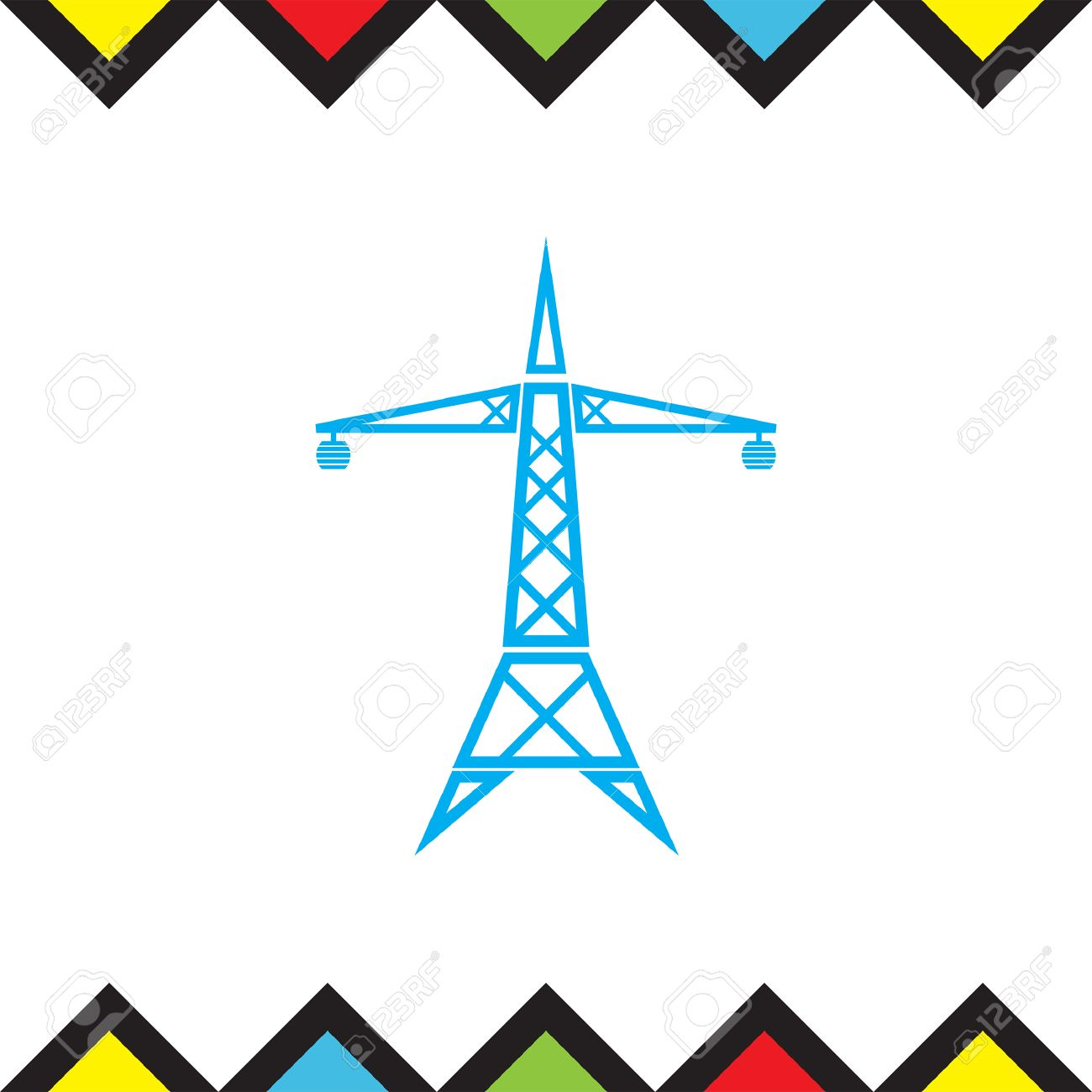 1300x1300 Power Line Vector Icon. Electric Tower Sign. High Electricity