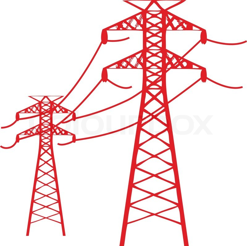800x799 Two Power Lines Connected By High Voltage Cords Stock Vector