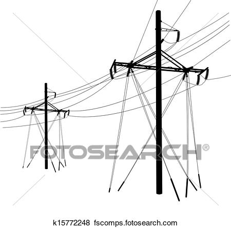 450x445 Clip Art Of Silhouette Of High Voltage Power Lines. Vector
