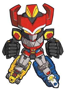 276x380 Mighty Morphin Power Rangers Megazord Sd Art Print 5x7 Mike