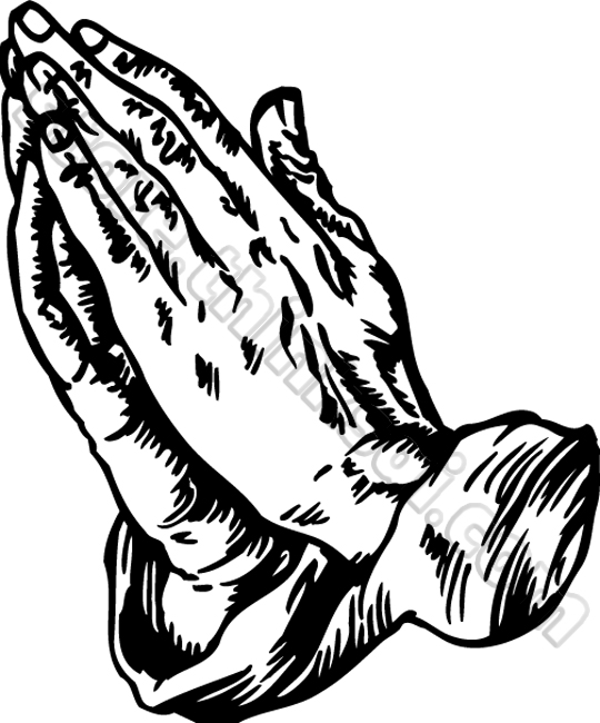 540x650 Praying Hands Black And White Clipart