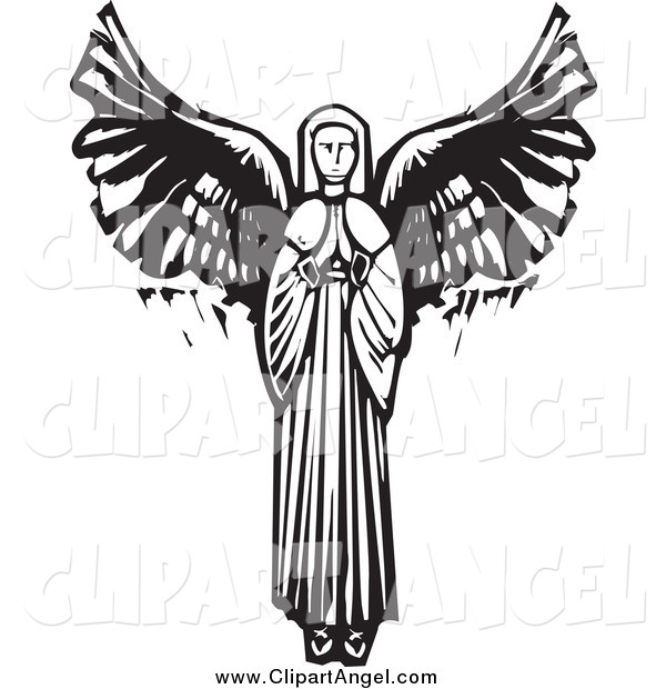 600x620 Illustration Vector Of A Praying Female Angel By Xunantunich