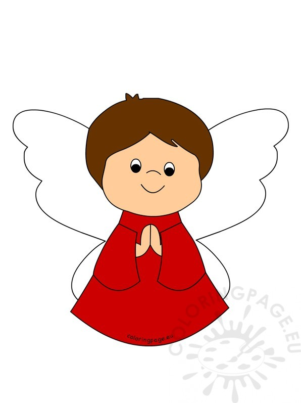 596x797 Little Christmas Angel Praying Coloring Page