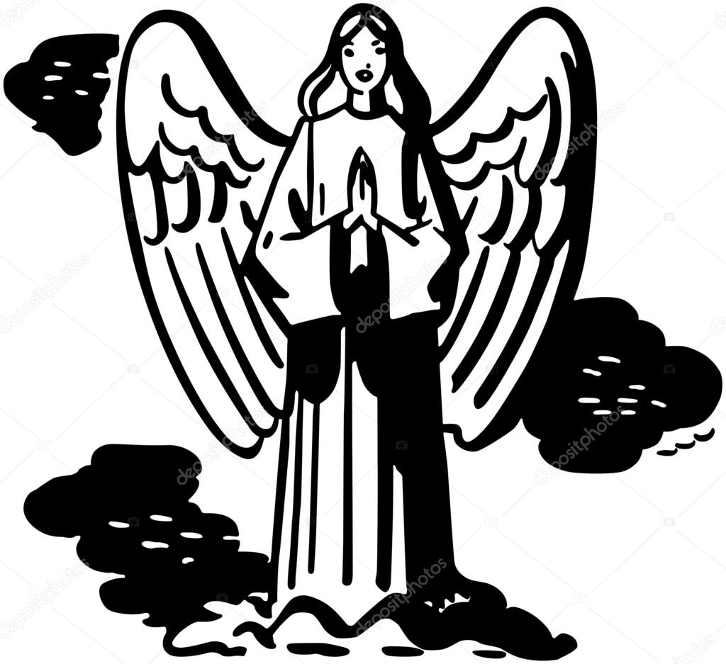1024x937 Praying Angel Stock Vector Retroclipart