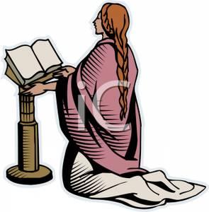 295x300 Woman Kneeling And Praying At An Open Bible