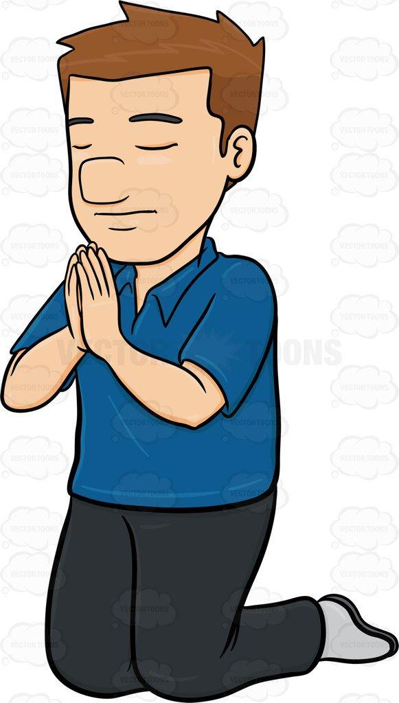581x1024 A Man Praying Deeply Cartoon Clipart