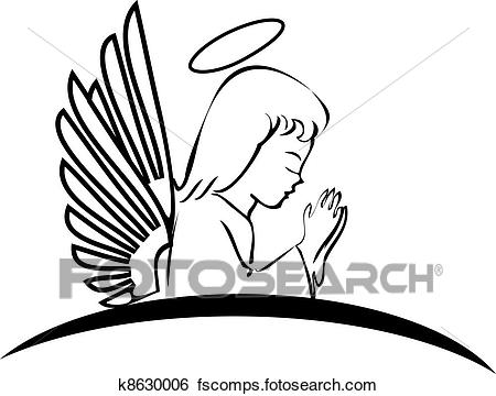 450x360 Clip Art Of Angel Praying Creative Logo K8630006