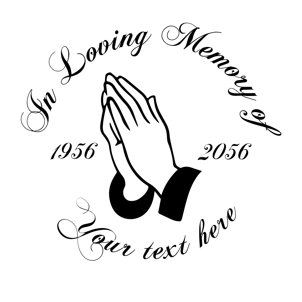 1051x1051 In Loving Memory Praying Hands Decal