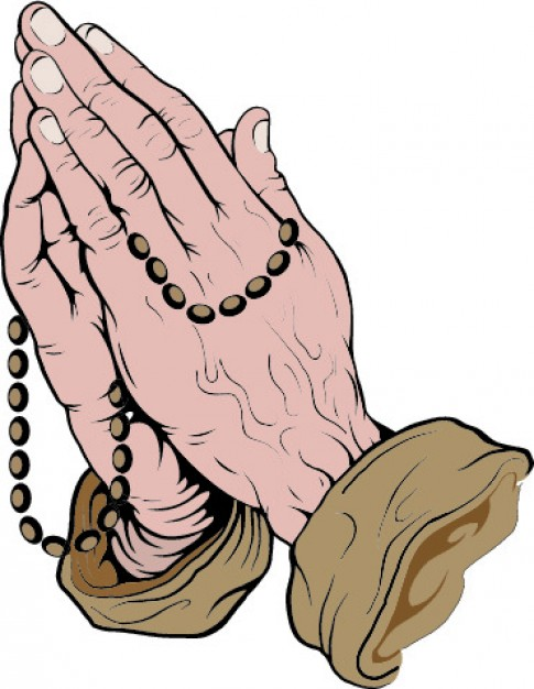 485x626 Praying Hands With Rosary Vector Free Download