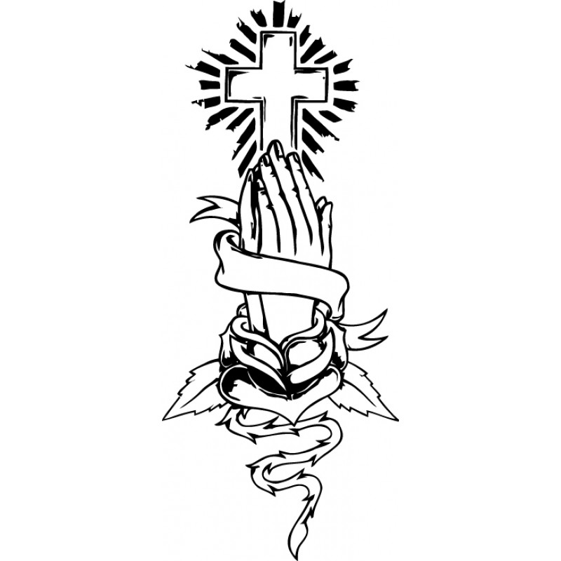 800x800 Praying Hands And Cross Clipart