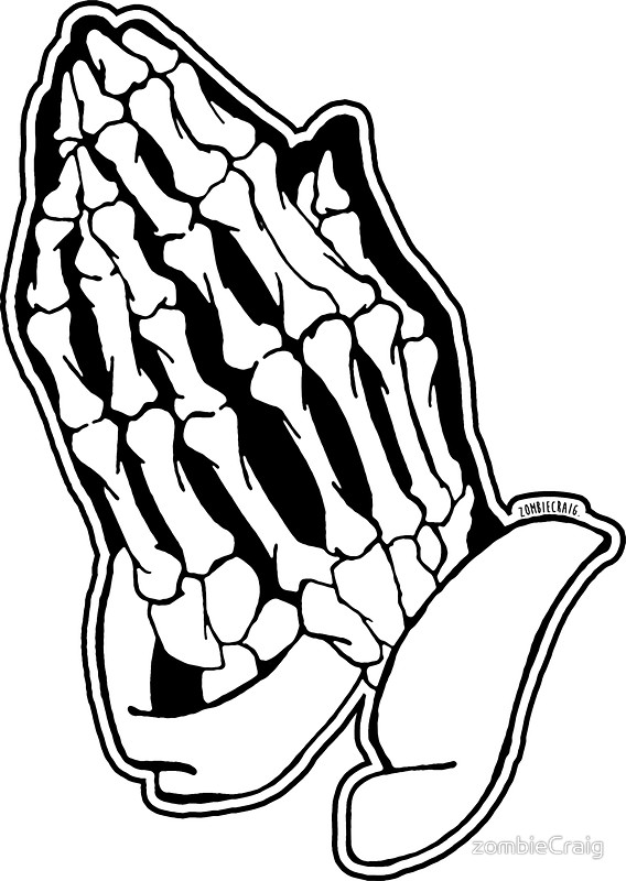 568x800 Praying Skeleton Hands Alternative Stickers By Zombiecraig