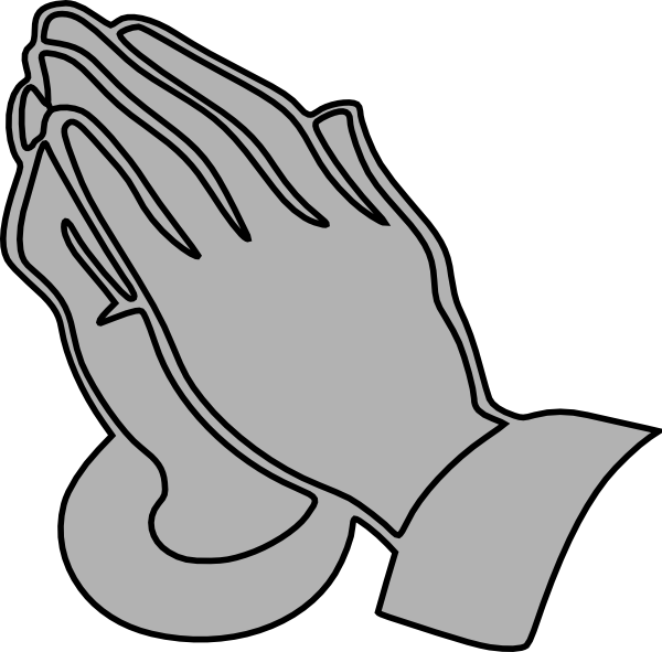 600x591 Praying Hands Black And White Clipart