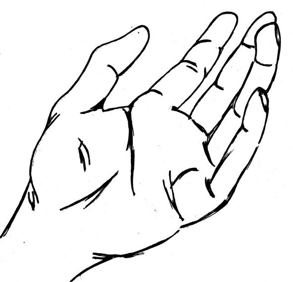 591x569 Drawn Fist Open Hand