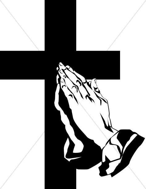 473x612 Praying Hands And Cross Clipart