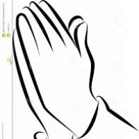 200x200 Praying Hands Black And White Clipart