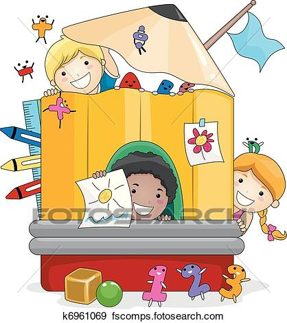 418x470 Clip Art Of Preschool Kids Playing K6961069
