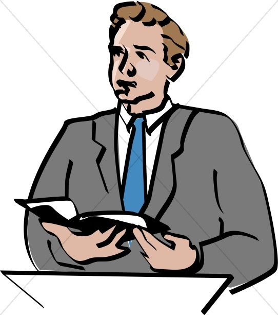 542x612 Lay Reader Offers Scripture Reading During Worship Service