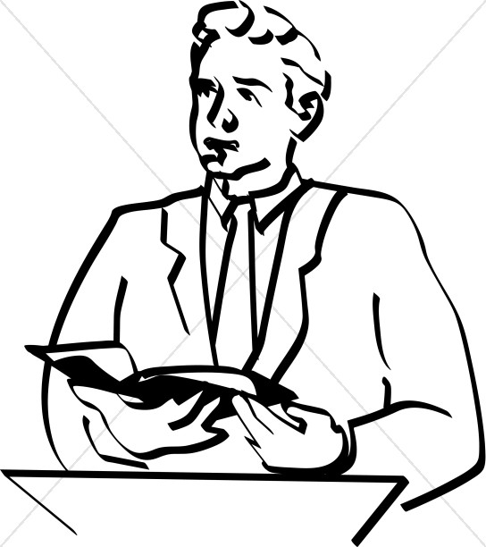 544x612 Lay Reader Presents Bible Passage Clergy Clipart