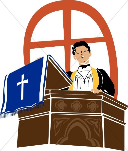 519x612 Preacher On A Pulpit Clergy Clipart
