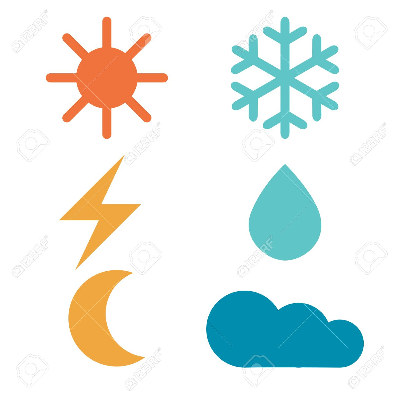 1300x1300 Weather Forecast Signs Sun, Moon, Rain, Snow, Cloud, Lightning