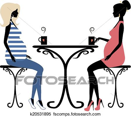 450x403 Clipart Of Silhouette Of Two Fashionable Pregnant Women K20531895
