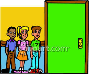 300x249 Standing Outside Of A Classroom Royalty Free Clipart Picture