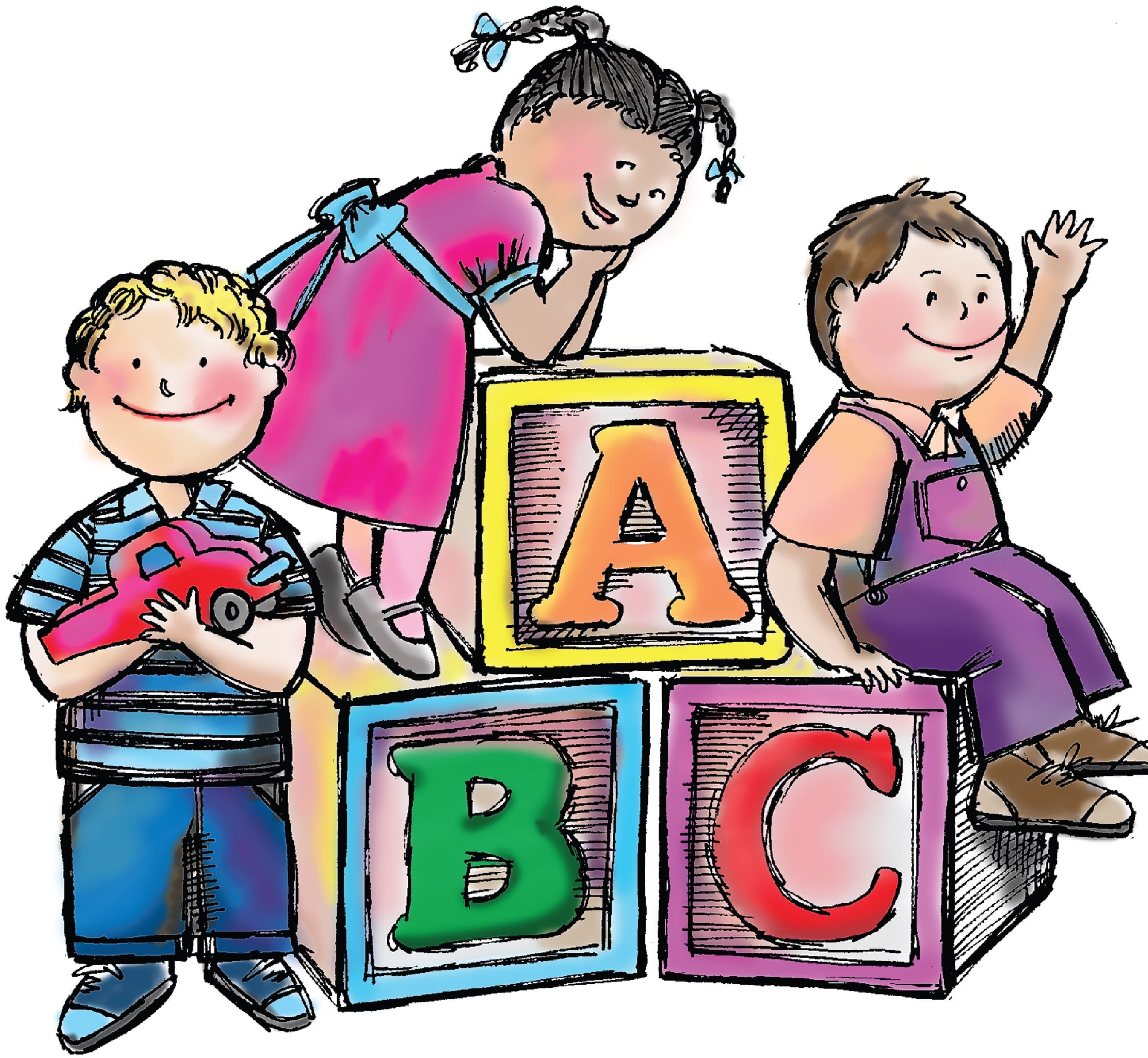 3017x2780 Kindergarten Preschool Children Clipart Black And White Free