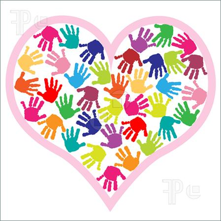 449x449 Handprint Heart Preschool Clipart