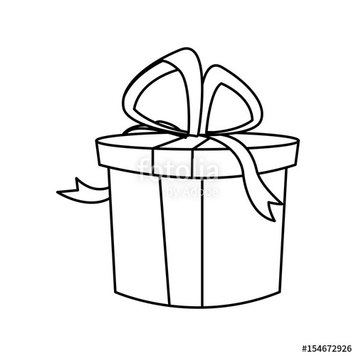 500x500 Christmas Round Present Box Gift Ribbon Decoration Outline Vector