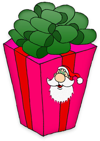 400x562 Christmas Santa With Present Clipart