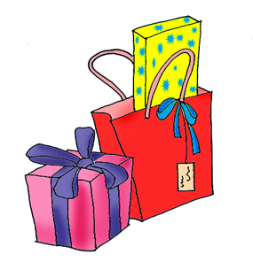 285x305 Open Presents Clipart