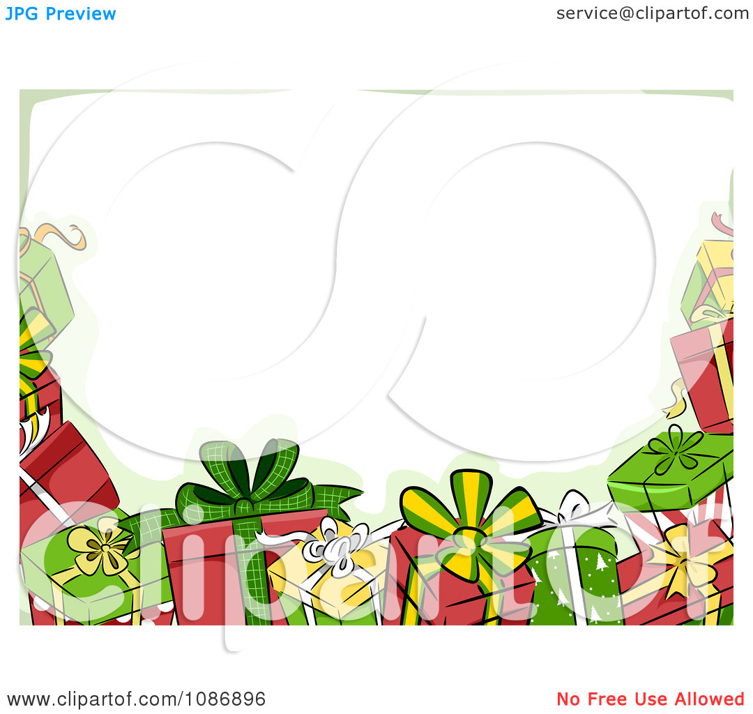 1080x1024 Christmas Presents Clip Art Borders Happy Holidays!