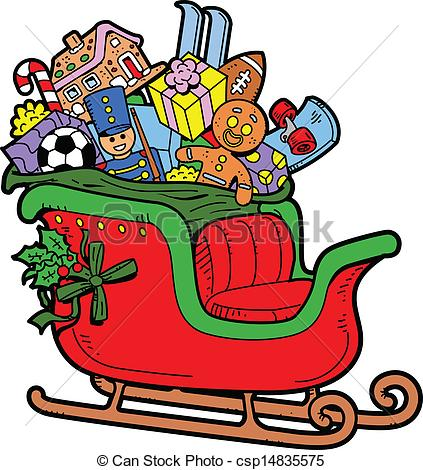 423x470 Free Santa Sleigh With Present Clipart