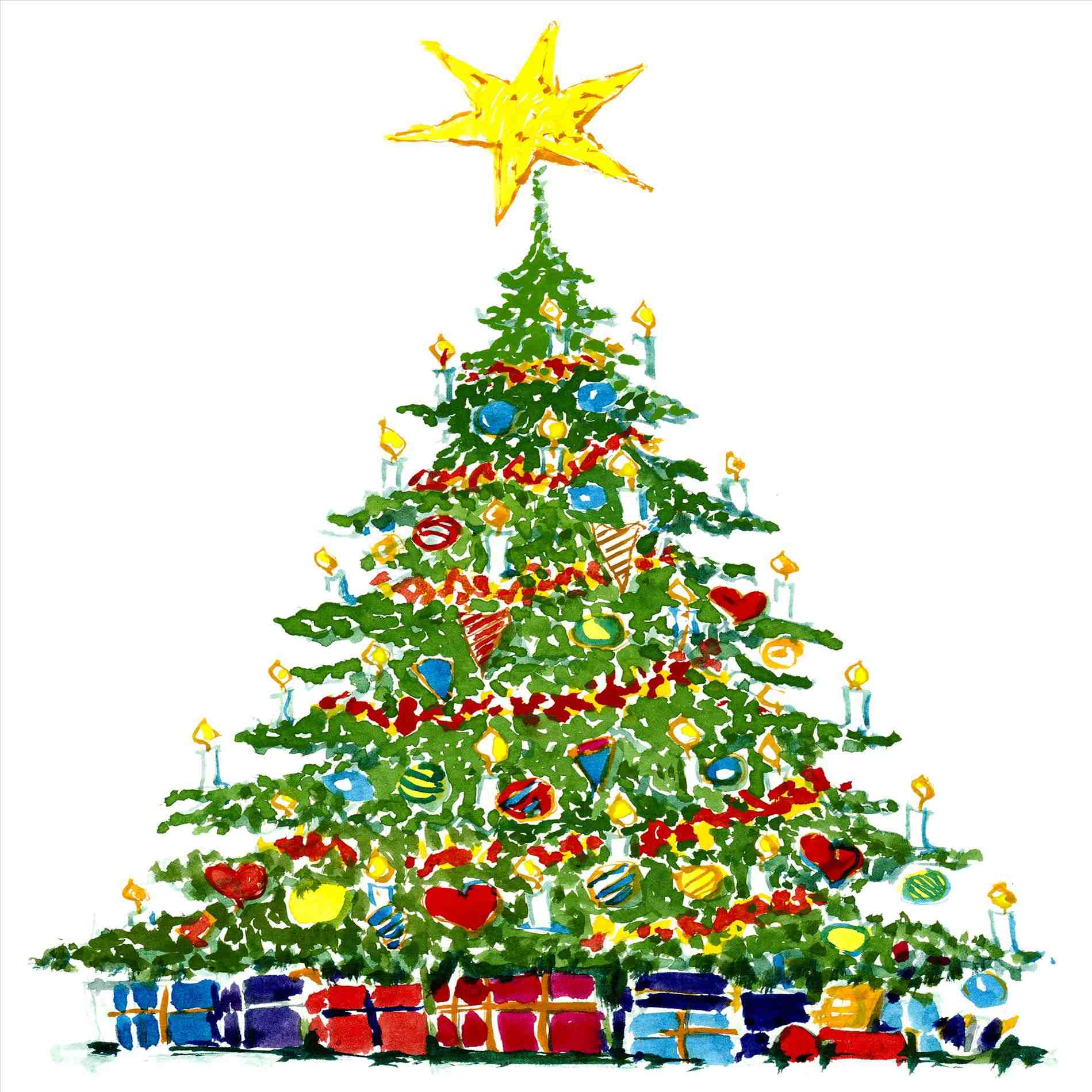 1899x1899 Art Graphic Graphic Christmas Tree With Presents Clipart Free
