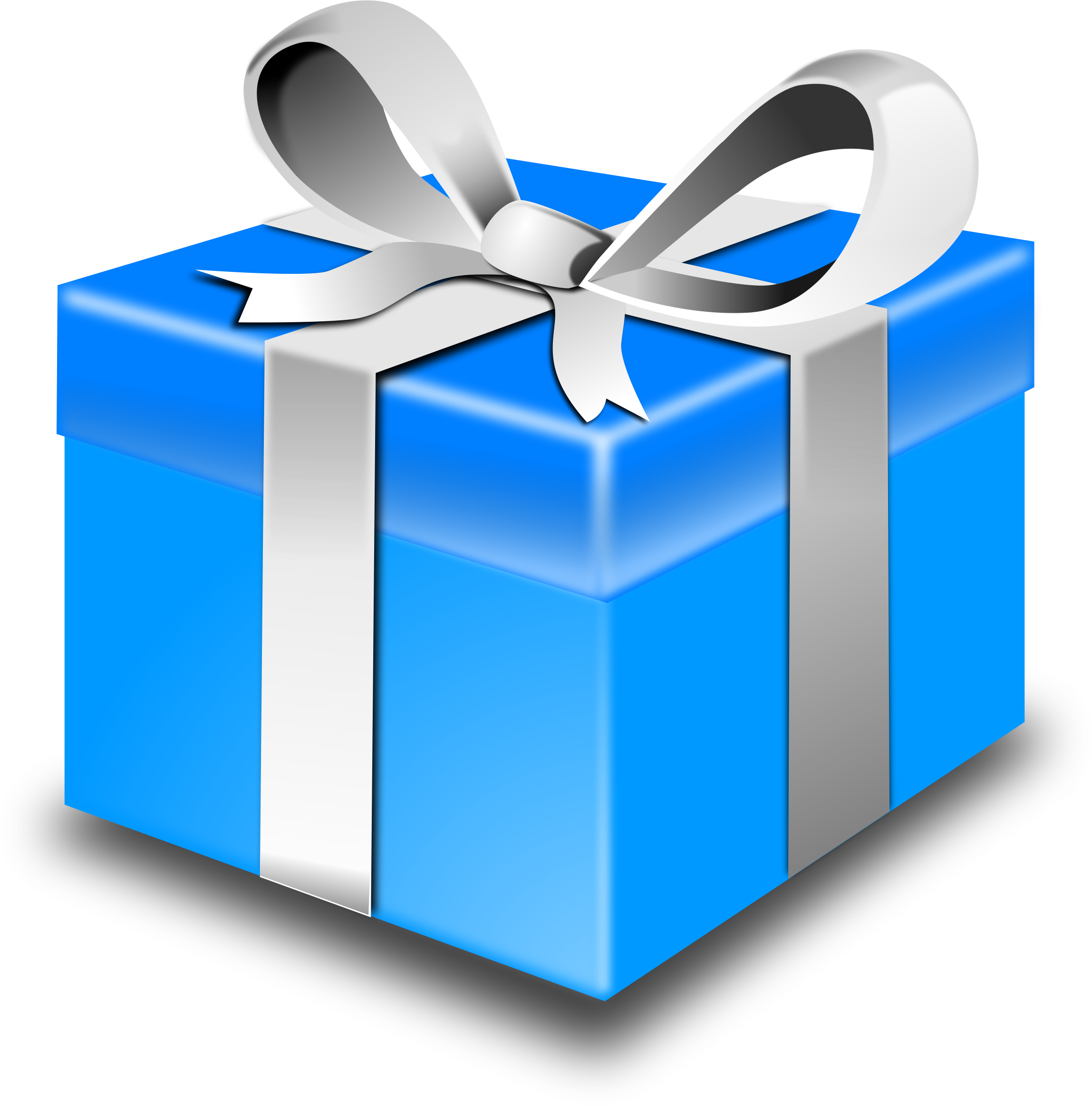2297x2327 Image For Free Blue Present Box High Resolution Clip Art