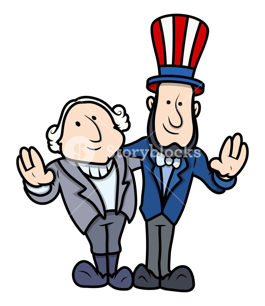 865x1000 George Washington Amp Abraham Lincoln Clip Art Cartoon Vector