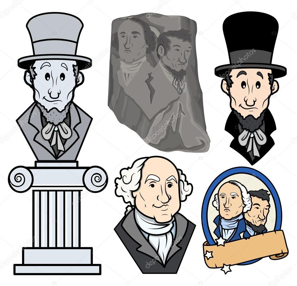 1023x985 Usa Presidents George Washington Amp Abraham Lincoln Clip Art