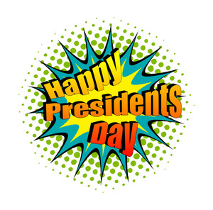 300x296 Happy Presidents Day Vector Ribbon Banner Illustration Royalty