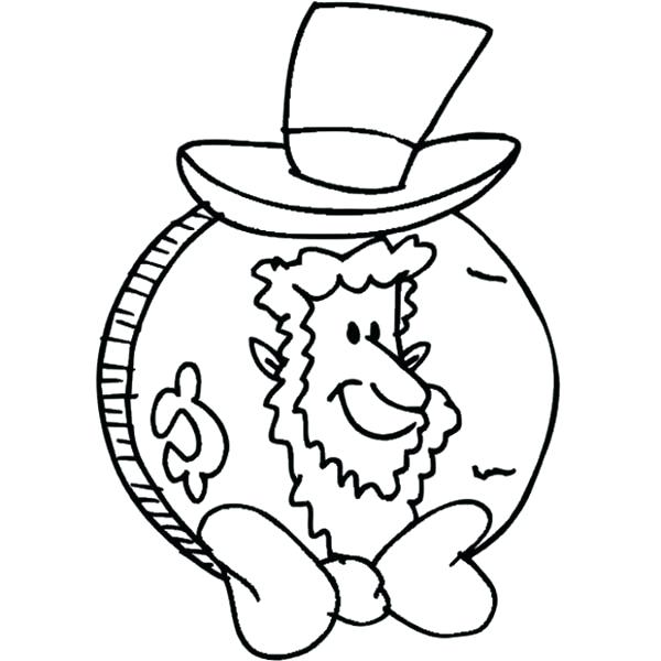 600x600 Abe Lincoln Coloring Page Coin For Presidents Day Coloring Page