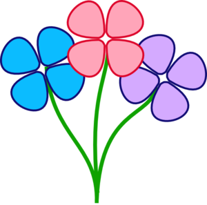 300x297 Three Pretty Flowers Clip Art