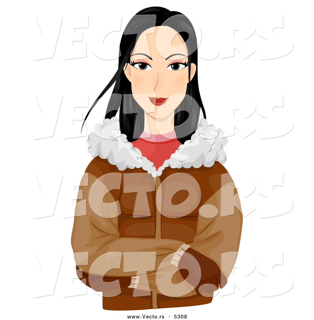 1024x1044 Vector Of A Pretty Cartoon Eskimo Girl Wearing A Jacket And Gloves