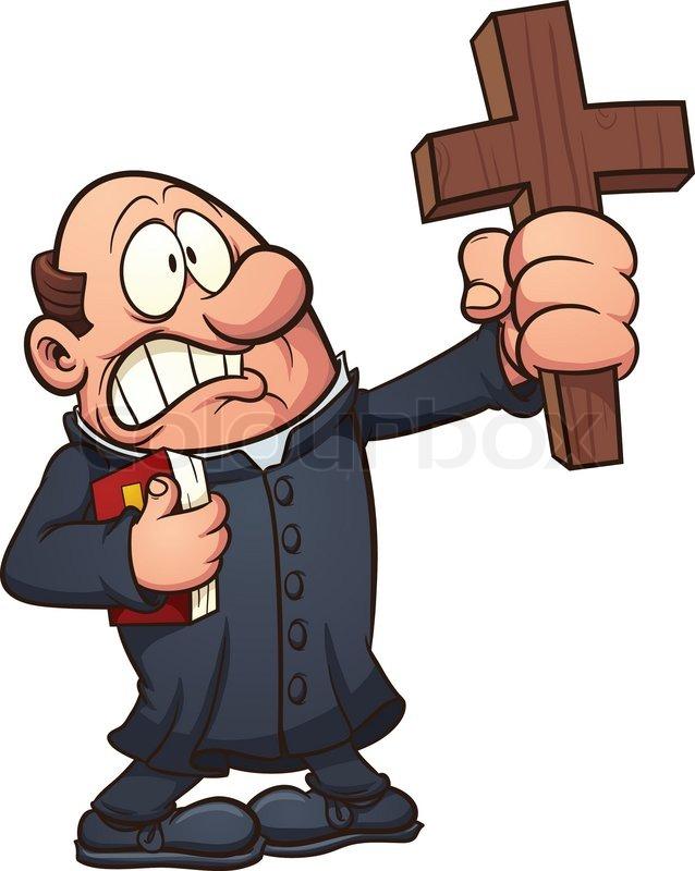 638x800 Cartoon Priest Holding A Big Cross. Vector Clip Art Illustration