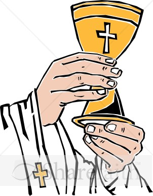 302x388 Cross Chalice Lifted By Priest Communion Clipart
