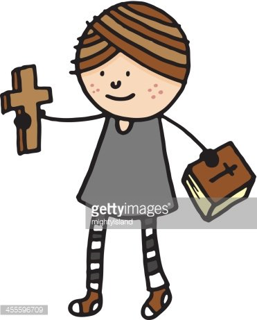 371x461 Female Priest Holding Cross And Bible Stock Vectors