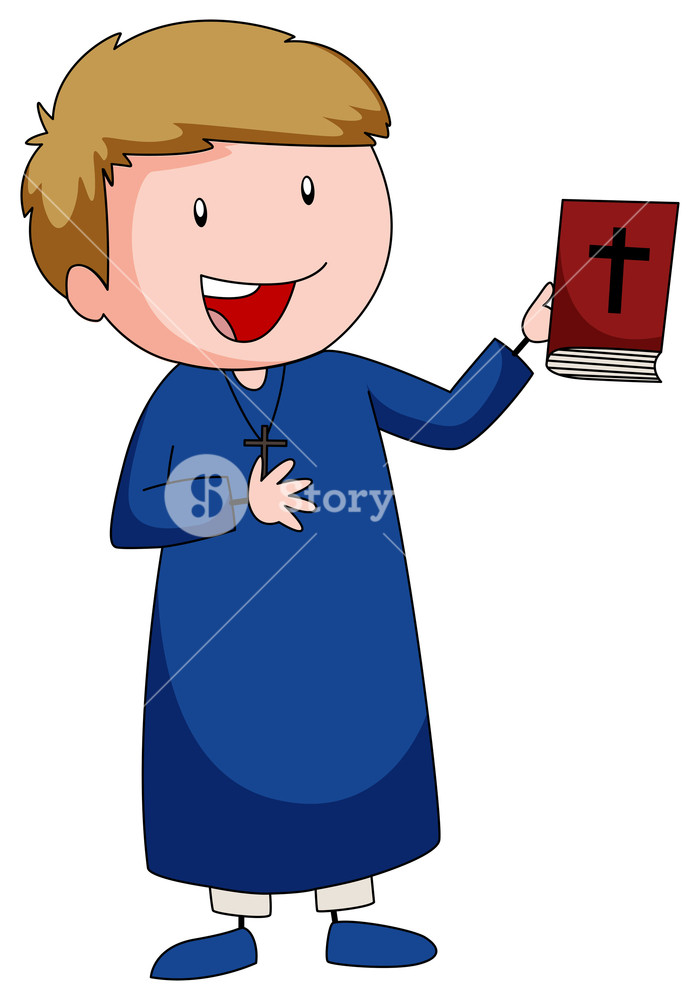 700x1000 Priest Carrying A Bible Book Illustration Royalty Free Stock Image